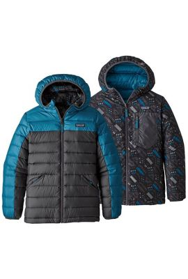 PATAGONIA BOYS REVERS DOWN HOODY BALKAN BLUE