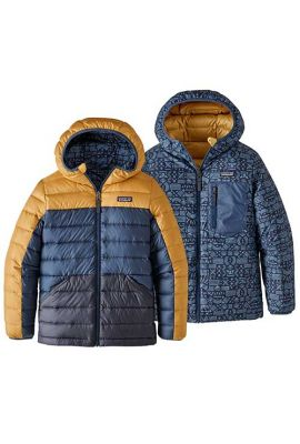 PATAGONIA BOYS REVERS DOWN HOODY GLYPH GOLD