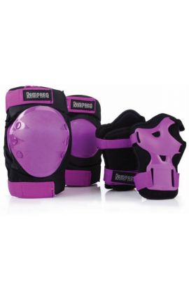 RAMPAGE TRI PACK WRIST GUARDS KNEE AND ELBOW PADS PURPLE/BLACK