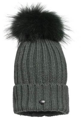 GOLDBERGH UNA BEANIE REAL FUR ISLAND GREEN